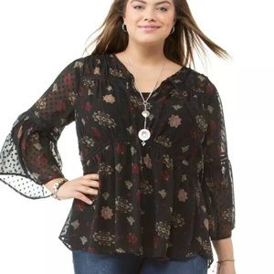 Lucky Brand Floral Sheer Tunic Plus Size 2X